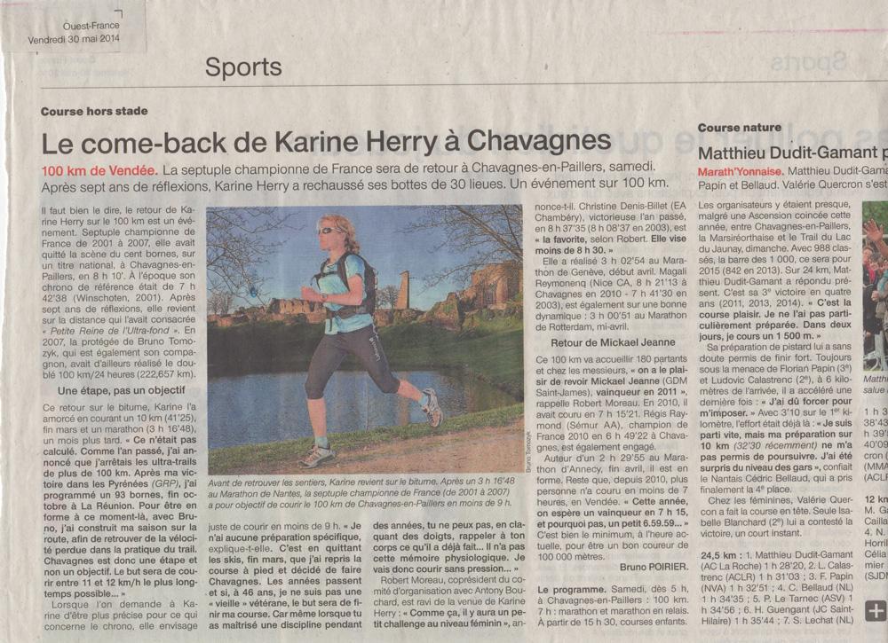 KARINE-100-KMS-CHAVAGNES-2014-ARTICLE-OUEST-FRANCE-DU-30-MAI-2014